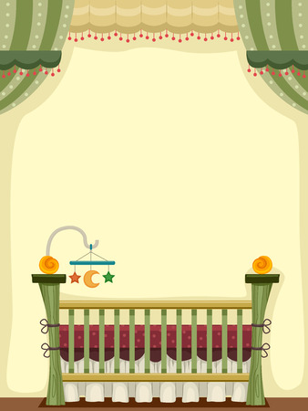 Illustration of a Vintage Crib Decorated With Baby Toys