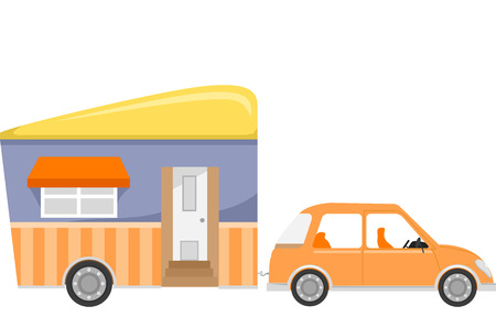pulled: Illustration of a Trailer Home Being Pulled by a Car
