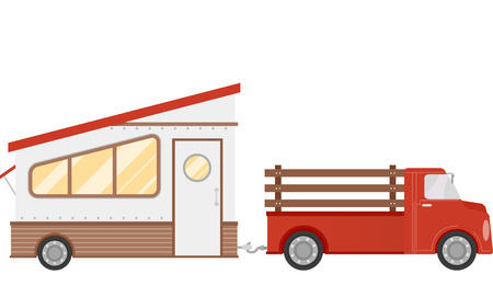 pulled: Illustration of a Trailer Home Being Pulled by a Pick Up Truck