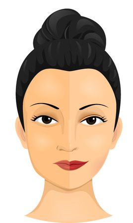 cartoon nose: Illustration of a Woman Who Had Undergone Several Cosmetic Procedures Stock Photo