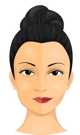 damas antiguas: Ilustración de una mujer que había sido objeto de varios procedimientos cosméticos