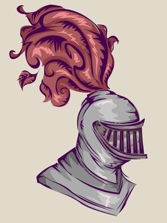 knight: Illustration of the Helmet of a Medieval Knight