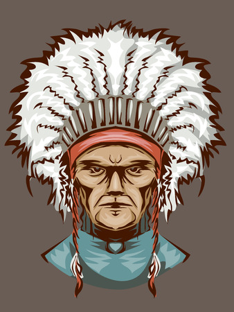 chieftain: Illustration of an Indian Man Wearing an Elaborate Headdress
