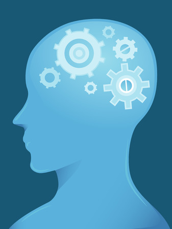 brain clipart: Side View Illustration of a Man With Cogwheels in His Brain