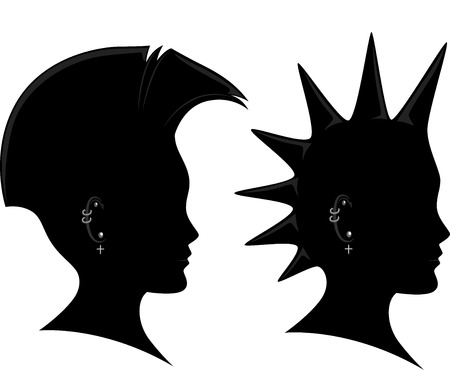 punk hair: Side View Illustration of the Silhouette of a Man Sporting a Mohawk Stock Photo
