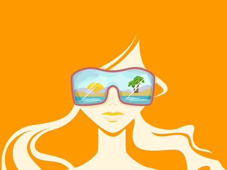 oversized: Illustration of a Woman in the Beach Wearing Oversized Sunglasses