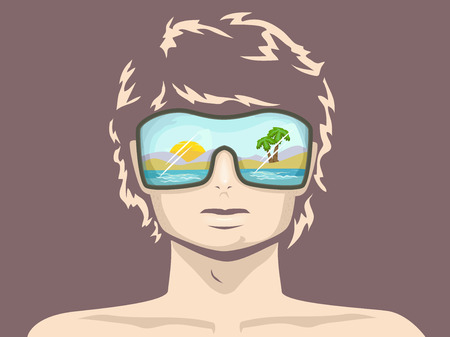 oversized: Illustration of a Man in the Beach Wearing Oversized Sunglasses Stock Photo