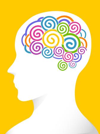 cognicion: Vista lateral Ilustración de un hombre con los remolinos de los varios colores en su cerebro Foto de archivo