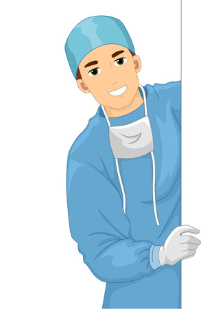 surgical mask: Illustration of a Doctor in a Scrub Suit Holding a Blank Board