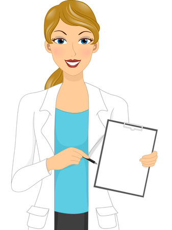 blank board: Illustration of a Female Doctor Holding a Blank Board