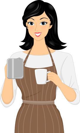 barista: Illustration of a Female Barista Preparing a Cup of Coffee