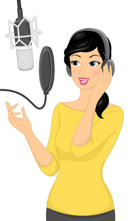 recording: Illustration of a Woman Recording a Song in a Music Studio Stock Photo