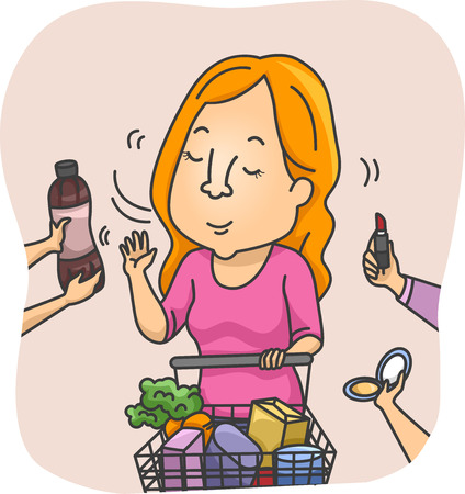 general store: Illustration of a Woman Refusing the Products Being Offered to Her at the Supermarket