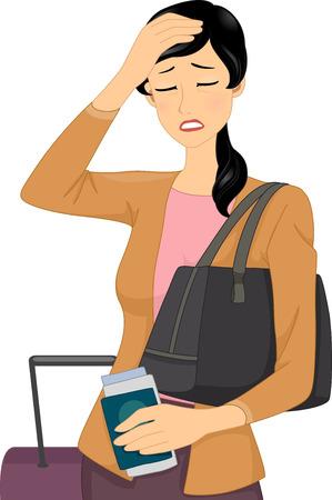 woman headache: Illustration of a Female Traveler Having a Headache