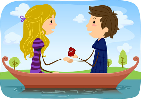 girlfriend: Illustration of a Man Proposing Marriage to His Girlfriend While Out Boating in a Lake Stock Photo