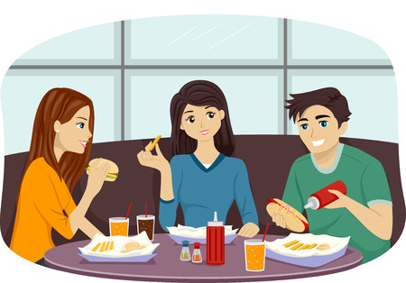 Illustration of a Group of Friends Eating Together in a Fast Food Restaurant illustration