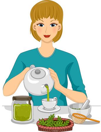 alternative living: Illustration of a Woman Preparing Organic Tea
