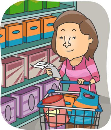 mujer en el supermercado: Ilustración de una mujer comprobando su lista, mientras que compras en el supermercado
