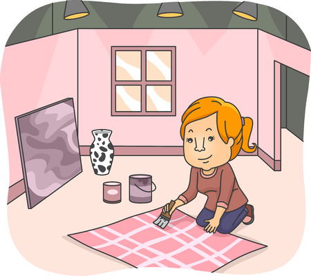 jobs cartoon: Illustration of a Female Set Designer Working on a New Set Background