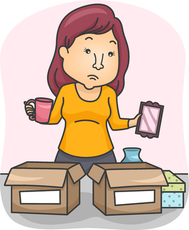 belongings: Illustration of a Woman Sorting Her Belongings and Placing Them in Boxes Stock Photo