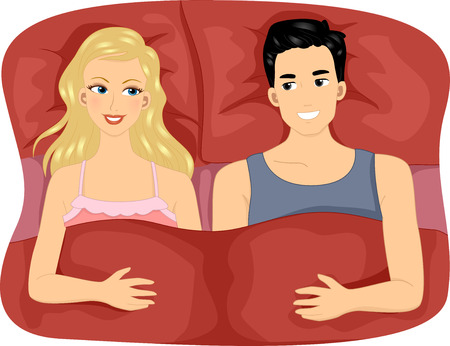 intimate: Illustration of a Couple Sharing a Large Bed with Matching Pillows and Sheets
