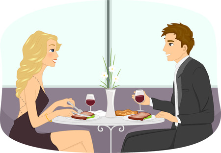 attire: Illustration of a Couple in Formal Attire Having a Romantic Dinner Date Stock Photo