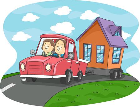 Illustratie van een paar trekken van een mobilhome met hun auto Stockfoto
