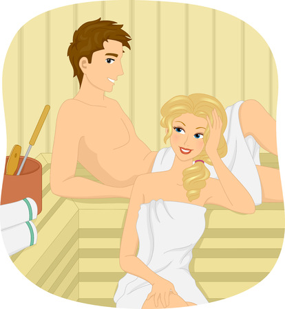 finland sauna: Illustration of a Couple Relaxing at a Sauna Bath