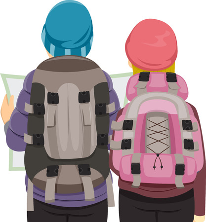 back to back couple: Back View Illustration of a Traveling Couple Wearing Similar Backpacks