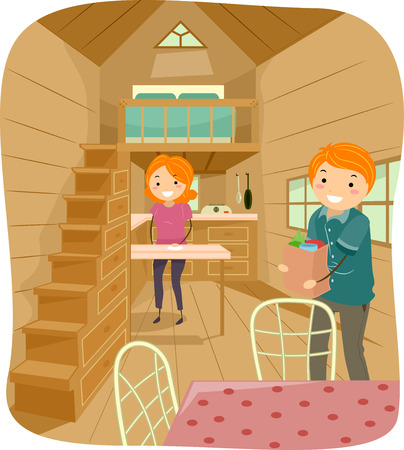 daily routine: Illustration of a Couple Living in a Cute Tiny House Going About Their Daily Tasks