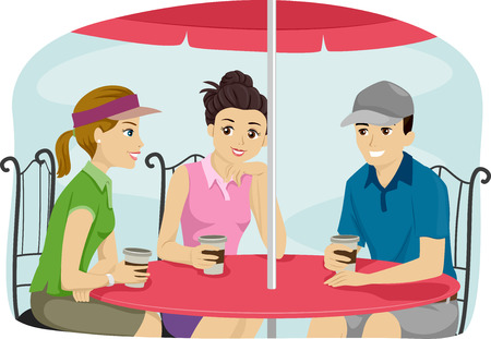 attire: Illustration of a Group of Friends Wearing Sporty Attire Bonding Over Coffee Stock Photo