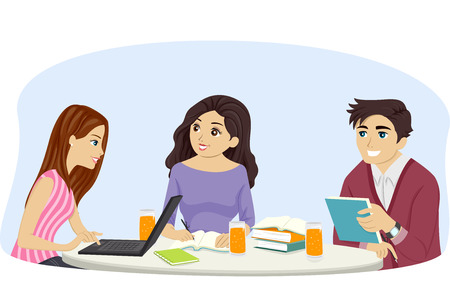 tertiary: Illustration of a Group of Teens Studying Together