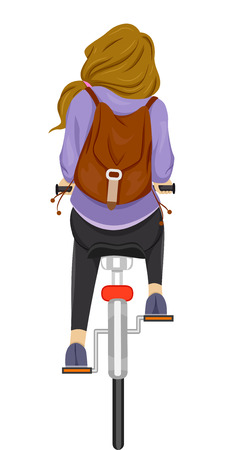 student travel: Back View Illustration of a Teenage Girl Riding on Her Bike Stock Photo