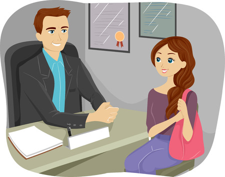 adviser: Illustration of a Teenaged Girl Consulting Their Guidance Counselor