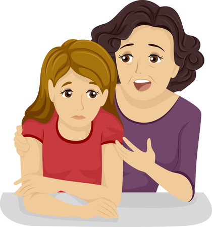 encourage: Illustration of a Mother Giving Her Teenage Daughter Some Advice Stock Photo