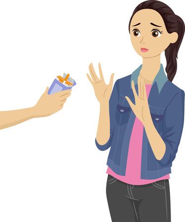 joven fumando: Ilustración de una chica adolescente que rechaza los cigarrillos que se ofrecen a Ella