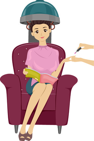 clip arts: Illustration of a Teenage Girl Reading a Magazine While Having Her Nails and Hair Done