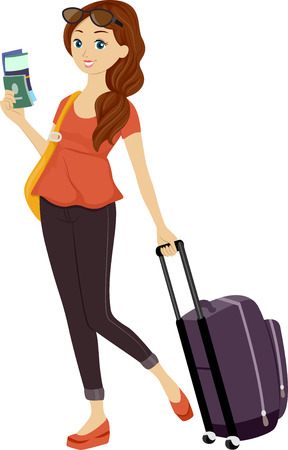 preadult: Illustration of a Teenage Girl Holding Her Passport in One Hand and Dragging a Piece of Luggage With the Other