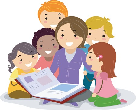 maestra preescolar: Ilustración Stickman Con niños acurrucados mientras escucha el Profesor que lee un libro de cuentos Vectores