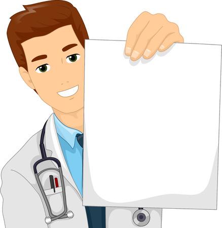 bata de laboratorio: Ilustraci�n de un doctor en una capa del laboratorio que sostiene un papel en blanco