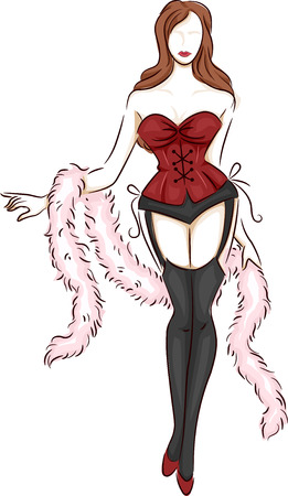 feather boa: Illustration of a Lingerie Model Wearing a Corset and Garter Belt Stock Photo
