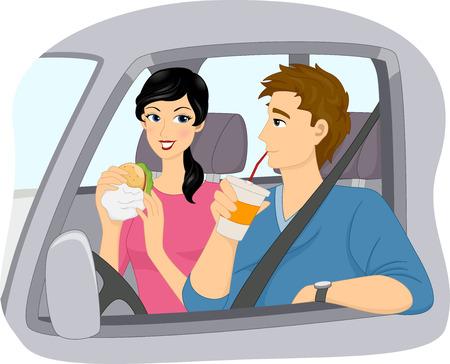 Ilustración de una pareja de comer comida rápida en un restaurante Drive Thru