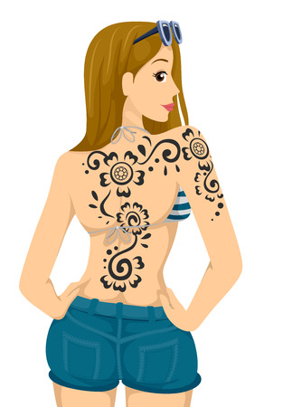 inked: Illustration of a Teenage Girl Showing the Henna Tattoo on Her Back Stock Photo