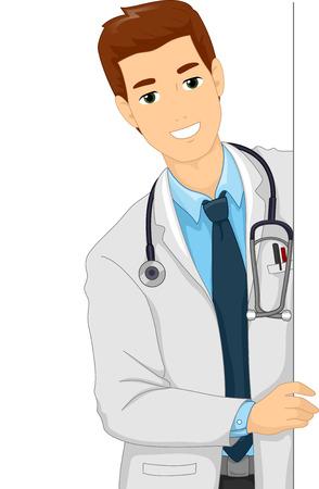 bata de laboratorio: Ilustración de un doctor de sexo femenino en una bata de laboratorio sosteniendo una hoja en blanco