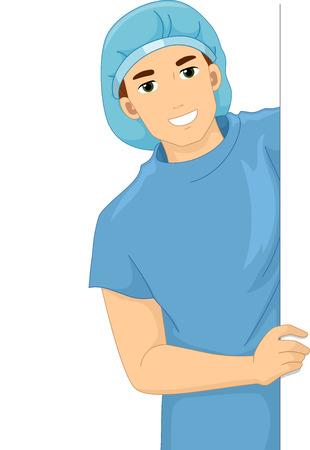 operation gown: Ilustraci�n de un paciente sonriente en una bata de hospital celebraci�n de una tarjeta en blanco Foto de archivo
