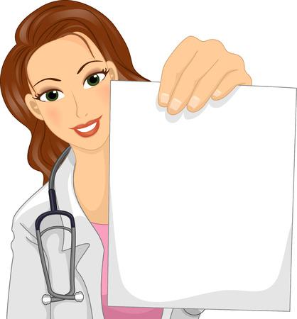 Ilustración de un doctor de sexo femenino en una bata de laboratorio sosteniendo una hoja en blanco