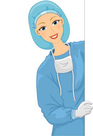 surgical mask: Illustration of a Female Doctor in a Scrub Suit Holding a Blank Board Stock Photo