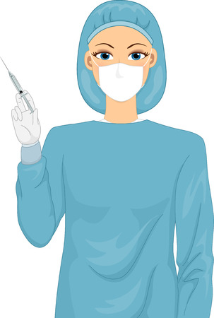 injecting: Illustration of a Female Surgeon in a Scrub Suit Holding a Syringe