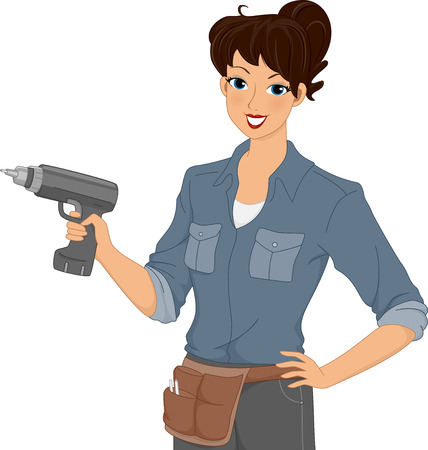 Illustration of a Woman Holding an Electric Drill illustration