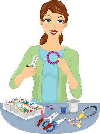 homemade: Illustration of a Woman Making Homemade Jewellery Stock Photo
